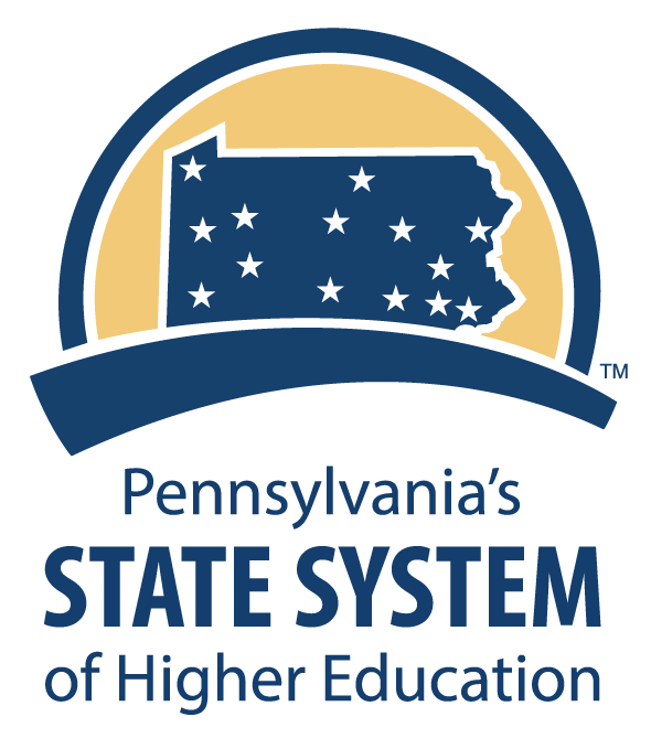 Pennsylvania's State System of Higher Education logo featuring state outline and 14 stars